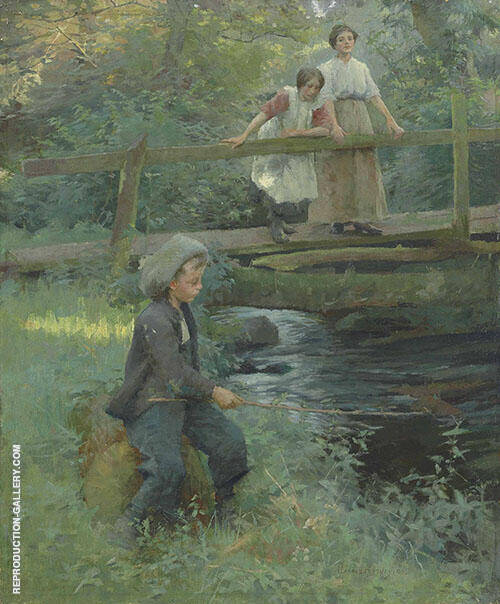 Fishing by a Woodland Stream By Harold Harvey