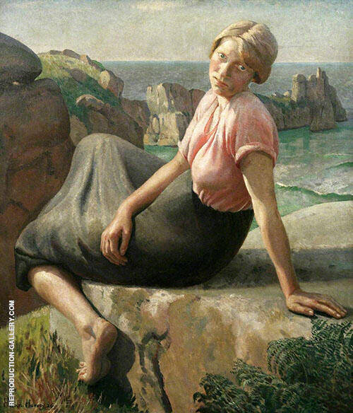 Girl on a Cliff By Harold Harvey