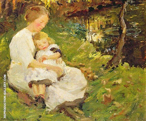 Mother and Child in a Wooded Landscape 1913 By Harold Harvey