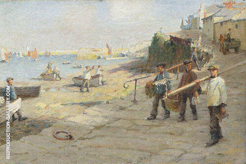 The Old Slip Newlyn 1908 Painting By Harold Harvey - Reproduction Gallery