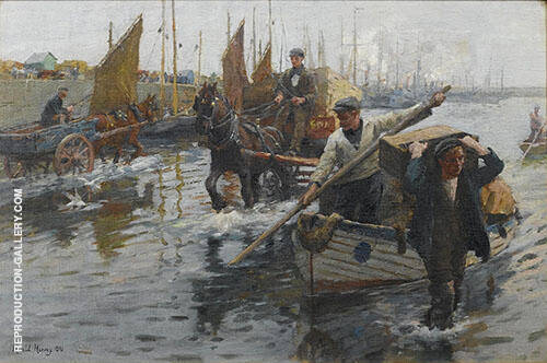 Unloading The Boats Newlyn Harbour By Harold Harvey