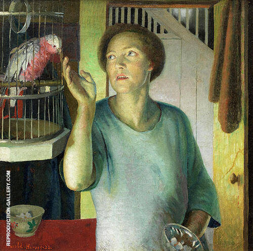 Gertrude Harvey with Parrot in The Artists Home Painting By Harold Harvey