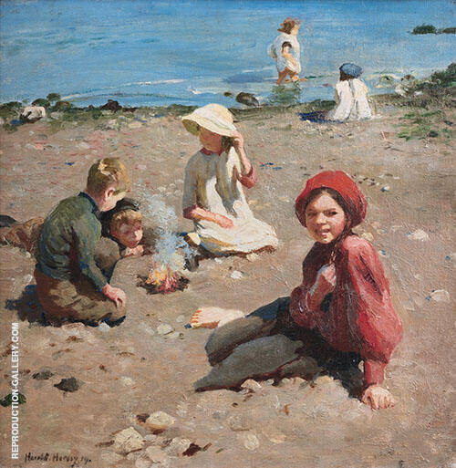 On The Sand Painting By Harold Harvey - Reproduction Gallery
