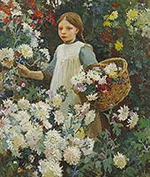 Picking Chrysanthemums By Harold Harvey