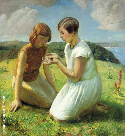 Two Young Girls with a Butterfly 1929 By Harold Harvey