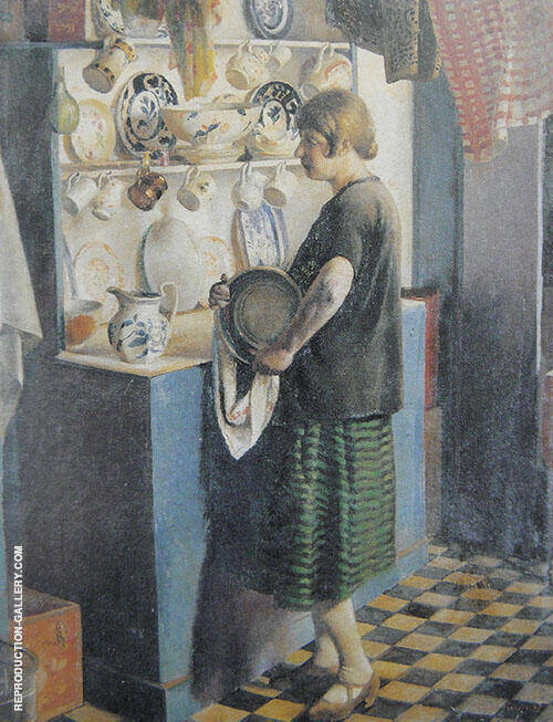 Gertrude in The Kitchen at Maen Cottage 1927 By Harold Harvey