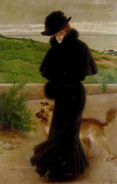 An Elegant Lady With Her Faithful Companion By The Beach By Vittorio Matteo Corcos