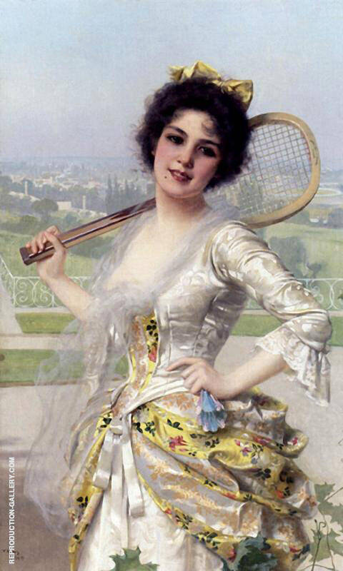 An Elegant Player Painting By Vittorio Matteo Corcos