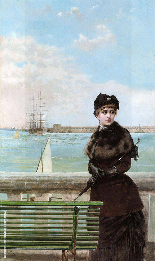 An Elegant Woman at St Malo By Vittorio Matteo Corcos