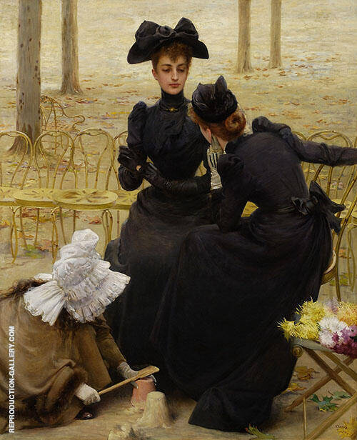 Conversation in The Jardin du Luxembourg Painting By ...