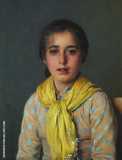 Girl with Yellow Shawl Painting By Vittorio Matteo Corcos