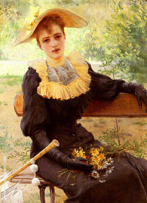 In The Garden Painting By Vittorio Matteo Corcos - Reproduction Gallery