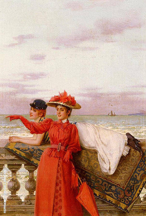 Looking Out To Sea Painting By Vittorio Matteo Corcos