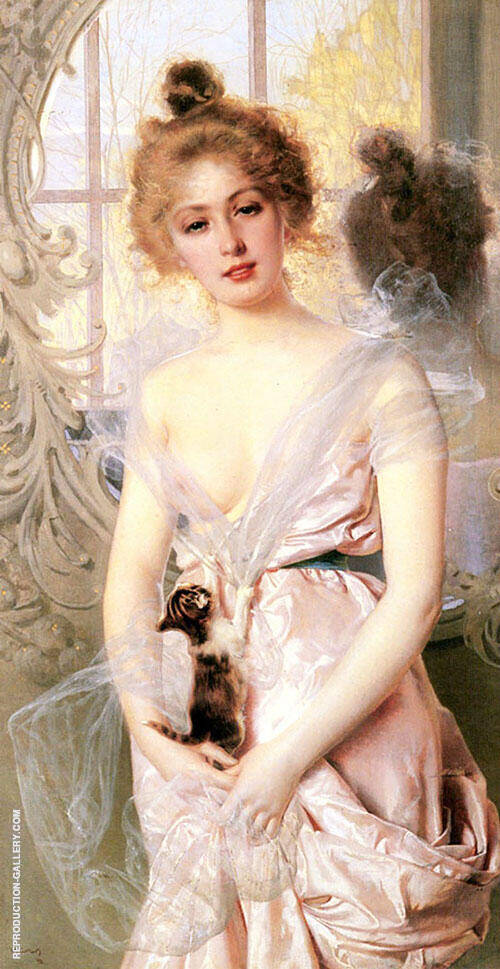 The New Kitten Painting By Vittorio Matteo Corcos - Reproduction Gallery