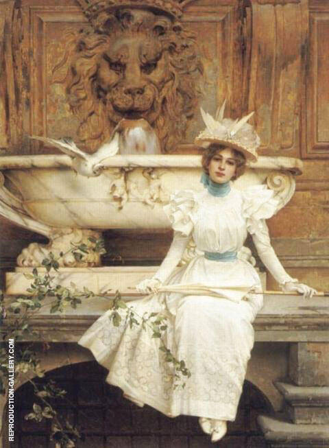 Waiting by The Fountain By Vittorio Matteo Corcos