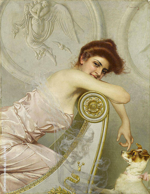 Young Woman with a Little Dog 1895 By Vittorio Matteo Corcos