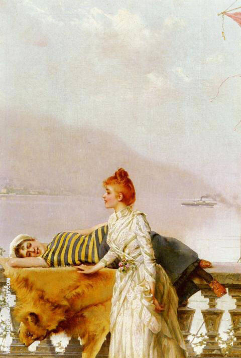 The Balcony Painting By Vittorio Matteo Corcos - Reproduction Gallery