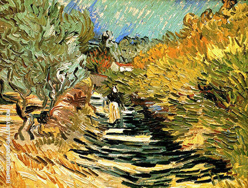 A Road at Saint Remy with Female Figure By Vincent van Gogh Replica Paintings on Canvas - Reproduction Gallery