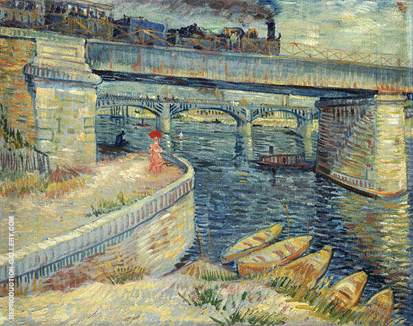 Bridges Across The Seine at Asnieres Painting By Vincent van Gogh