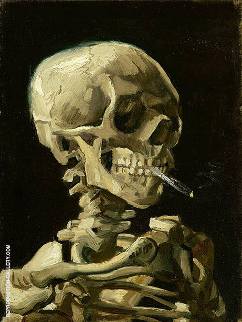 Head of a Skeleton with a Burning Cigarette Painting By Vincent van Gogh
