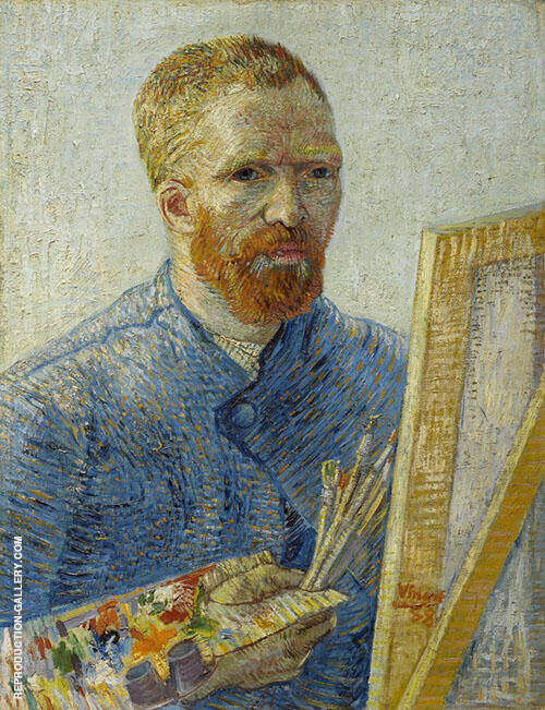 Self Portrait with Easel Paris Winter 1887 By Vincent van Gogh