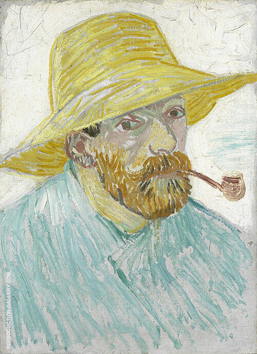 Self Portrait with Straw Hat 1887 Painting By Vincent van Gogh