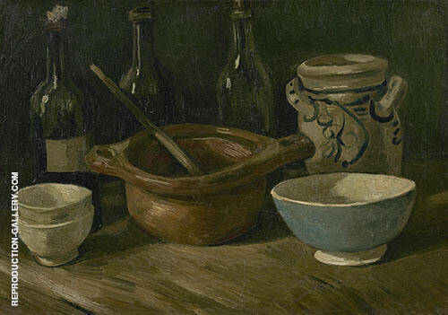 Still Life with Earthenware and Bottles 1885 By Vincent van Gogh