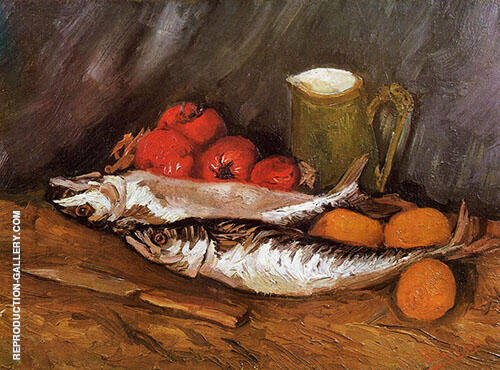 Still Life with Mackerels Lemons and Tomatoes 1886 By Vincent van Gogh
