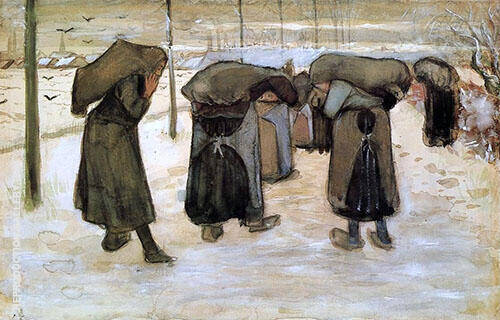Woman Miners Carrying Coal Painting By Vincent van Gogh