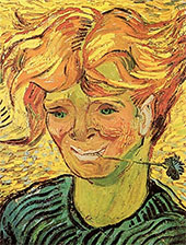 Young Man with Cornflower By Vincent van Gogh