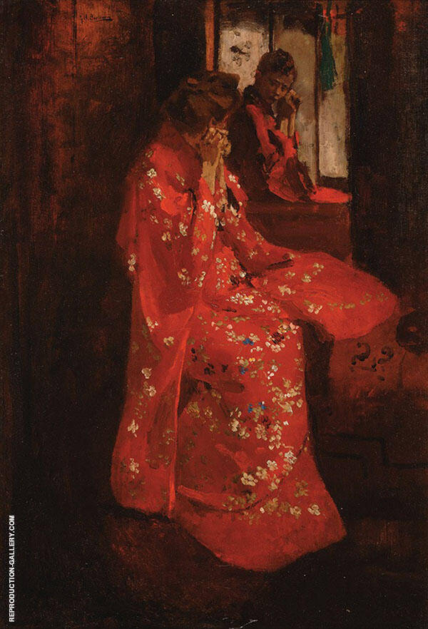 Girl in Red Kimono in front of a Mirror By George Hendrik Breitner
