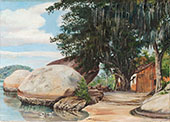 Boulders Fishermans Cottage and Tree Hung with Air Plant at Parquita Brazil 1880 By Marianne North