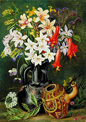 Chilian Lilies and Other Flowers in Black Jug and Ornamented Gourd for Mate 1880 By Marianne North