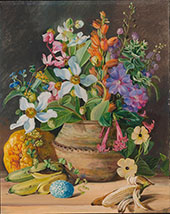 Group of Wild Meadow Flowers of Brazil Golden Banana and Euembas Crotophaga Major Egg 1880 By Marianne North
