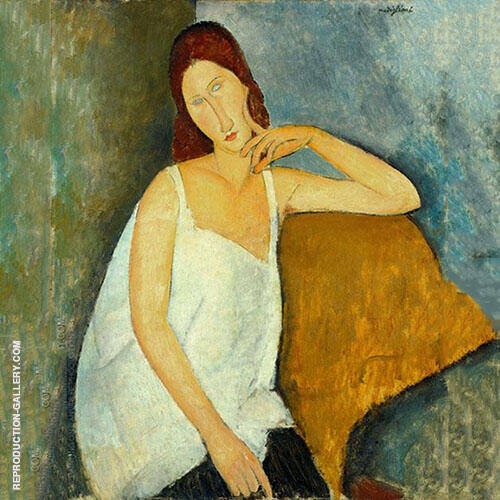 Portrait of Jeanne Hebuterne Sitting 1918 - 1 By Amedeo Modigliani
