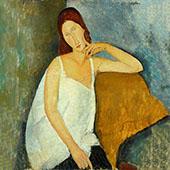 Portrait of Jeanne Hebuterne Sitting 1918 - 1 By Amedeo Modigliani