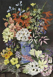 Old Dutch Vase and South African Flowers By Marianne North