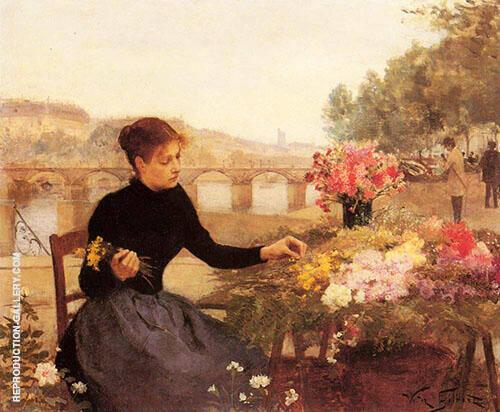A Parisian Flower Market By Victor Gabriel Gilbert