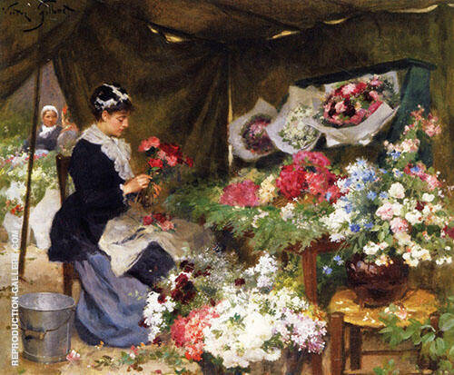 Flower Seller Making a Bouquet By Victor Gabriel Gilbert