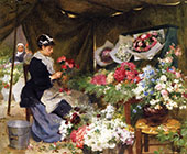 Flower Seller Making a Bouquet By Victor Gabriel Gilbert