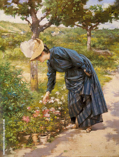 Lady in a Garden By Victor Gabriel Gilbert