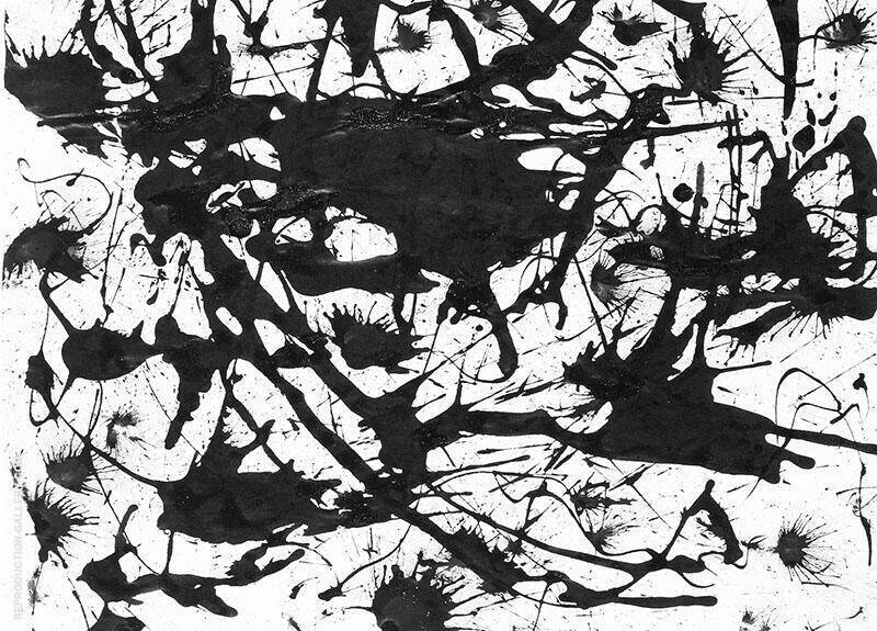 Black and white oil paint  by Jackson Pollock RePRINT ON FRAMED CANVAS Wall Art