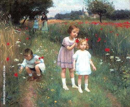 Children in a Poppy Field By Victor Gabriel Gilbert