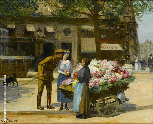 Flower Seller at The Church By Victor Gabriel Gilbert