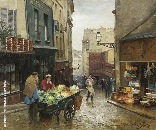 Market on The Rue Mouffetard Paris By Victor Gabriel Gilbert