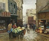 Market on The Rue Mouffetard Paris By Victor Gabriel Gilbert