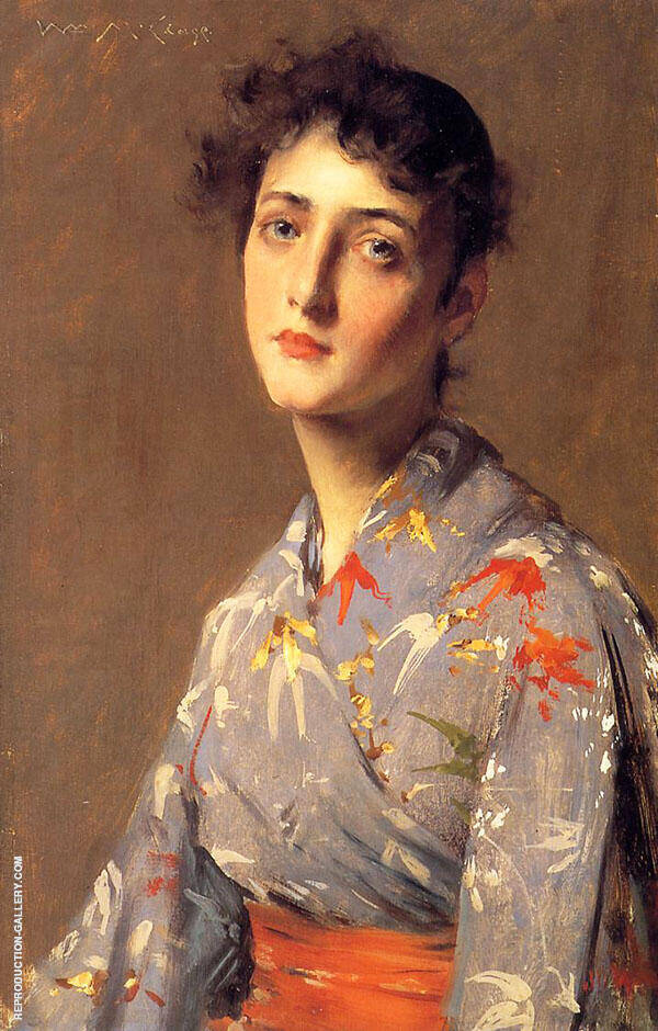 Girl in a Japanese Kimono 1890 Painting By William Merritt Chase