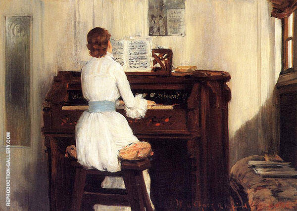 Mrs Meigs Piano Organ 1883 Painting By William Merritt Chase