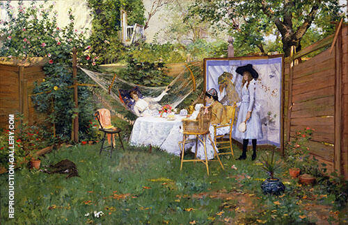 Open Air Breakfast 1888 Painting By William Merritt Chase
