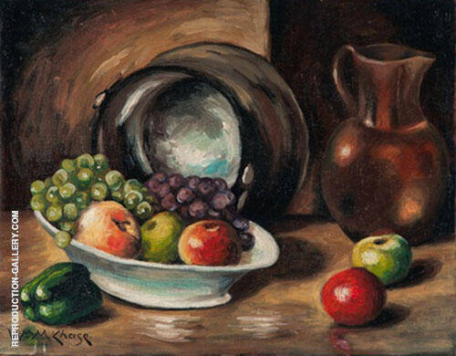Still Life with Fruit and Pitcher By William Merritt Chase